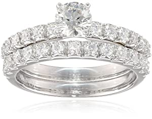18k White Gold .50 ct Round Center Diamond Bridal Ring Set (1.00 cttw, H-I Color, SI1-SI2 Clarity), Size 6