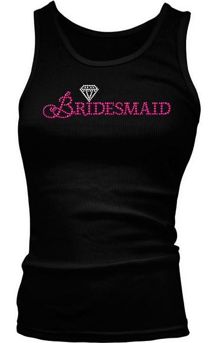 Neon Pink Bridesmaid With Diamond Ladies Junior Fit Tank Top