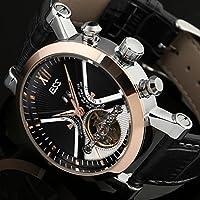 ESS Men's Black Tourbillon Style Stainless Steel Case Aviator Automatic Mechanical Watch WM343