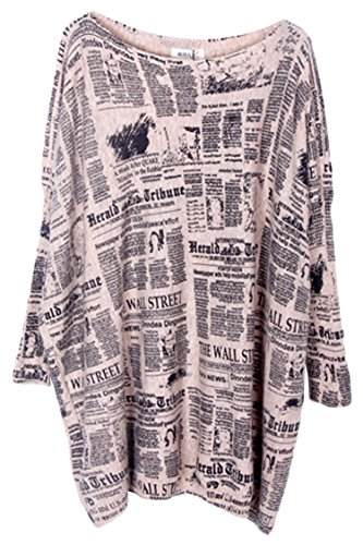 Pink Wind Women Baggy Doodles Print Knit Pullover Tops Sweaters Dress