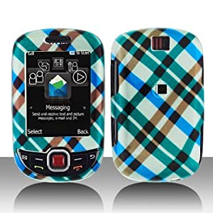 Premium - Samsung T359/Smiley Blue Plaid Cover - Faceplate - Case - Snap On - Perfect Fit Guaranteed