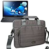 Evecase Suit Fabric Multi-functional Neoprene Briefcase Case Tote Bag for Samsung ATIV Book 9 Plus NP940X3G / 9 Lite NP915S3G 13.3-Inch Touchscreen Laptop ( Gray )