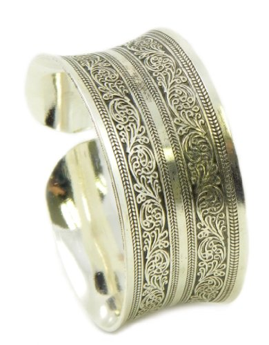 Ethnic Floral Engraved Burnished Silver Concave