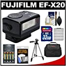 Fujifilm EF-X20 Shoe Mount Electronic Flash with 32GB Card + Batteries & Charger + Case + Tripod Kit for Fuji X-A1, X-E1, X-E2, X-M1, X-T1, X-Pro1 Cameras