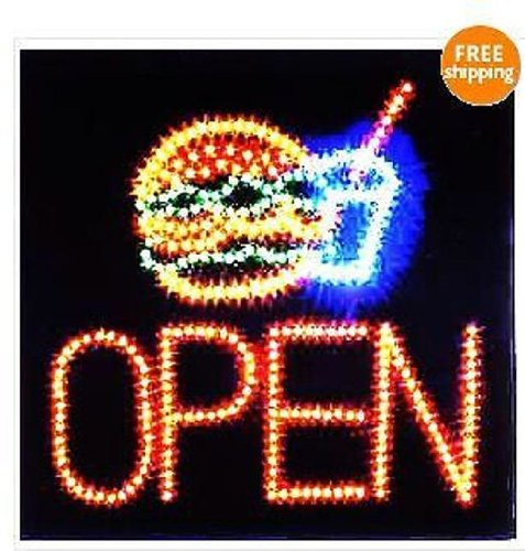 """Business Sign Ultra Bright Animated Led Neon 19""""X19""""X1"""" Hamburger Open Sign"""