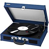 Jensen JTA-410-BL Portable 3-Speed Stereo Turntable with...