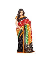 Admyrin Multi Colour Georgette Saree With Mustard Blouse Piece - B00VR80ACM