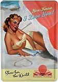 Blechschild PinUp sexy Girl Postkarte Blechkarte 10 x 14 cm Reklame Retro Blech PK16