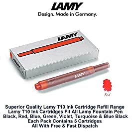 Lamy T10Rouge Stylo plume recharges de remplacement de rechange Cartouches d'encre pour tous les stylos Lamy Fountian (Lot de 20cartouches d'encre-100)