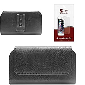 DMG Premium PU Leather Cell Phone Pouch Carrying Case with Belt Clip Holster for Xiaomi Redmi 1S (Black) + Matte Anti-Glare Screen Protector