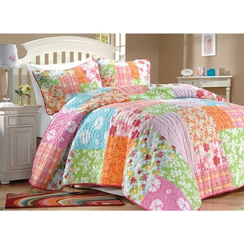 Pink-Green-Blue-Hawaiian-Flowers-Beach-House-Cotton-3PC-FullQueen-Quilt-Shams-Set