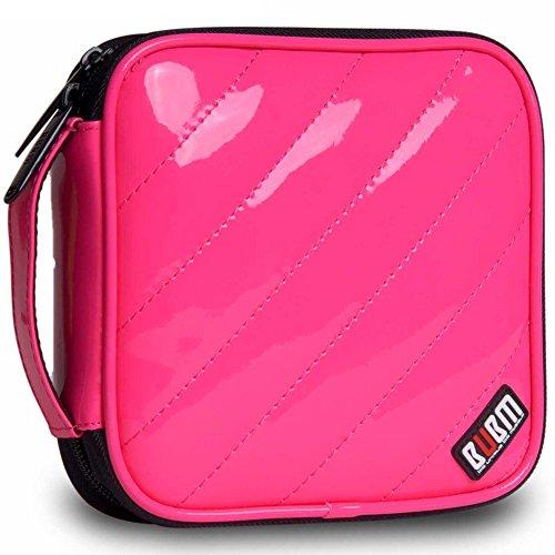 BUBM PU Smooth Leather Discs CD/DVD Storage Wallet Hard Case CD Bag,32 Capacity (Rose)
