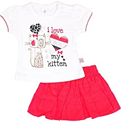 Toffy House Baby Girls' T-Shirt With Skirt Set (129_9-12 Months, White, 9-12 Months)