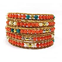 Orange Coral and Turquoise Wrap Bracelet | Chan Luu Style Wrap Bracelet