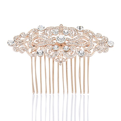 Remedios 3 Colors Rhinestone Wedding Hair Comb Bridal Hair Accessory Hair Clip, Rose Golden