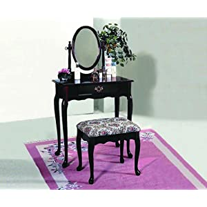 Crownmark Cherry Vanity Set with Mirror and Bench