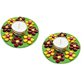 Unique Arts & Interiors. Set Of 2 Multi Round TL114 Tea Light Candle Diya Holder