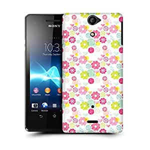 MobileGlaze Designs Blooming Meadow Print Pink Hard Back Case Cover for SONY XPERIA V LT25i