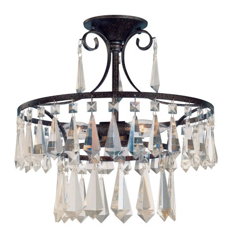 World Imports Lighting 5873-89 Lille 3-Light Semi-flush Light Fixture with Crystals, Bronze