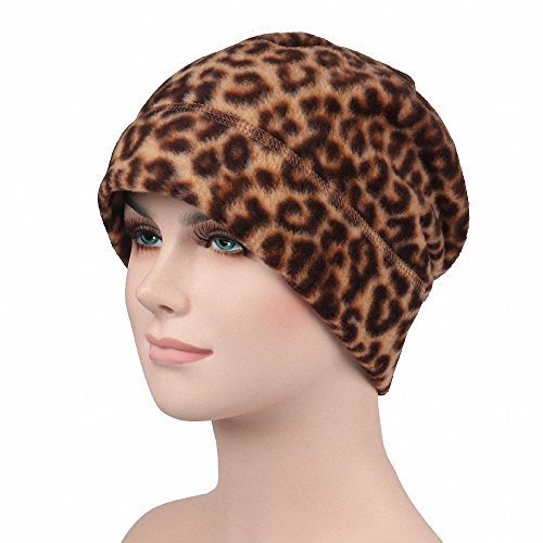 Maoko Fleece Watch Cap/ Winter Warm Hat/ Daily Slouchy Beanie Skull Cap Khaki Leopard (Skull Cap Pattern Sewing compare prices)