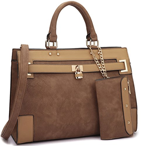 dasein-fashion-womens-top-handle-briefcase-satchel-bag-double-belted-padlock-work-handbag-w-coin-pur