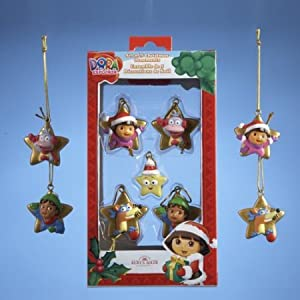Dora the Explorer Kurt Adler 1.25-Inch Resin 2D Ornament Set, Mini, 5-Pack