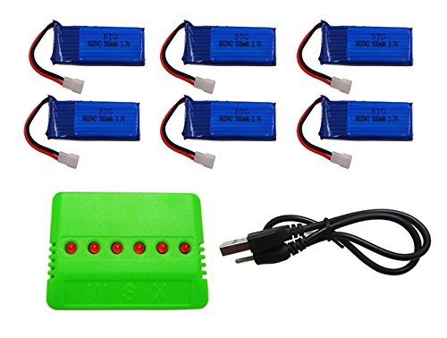 BTG 6PCS Upgrade Battery 500mAh & X6 Charger for Hubsan X4 H107L H10
