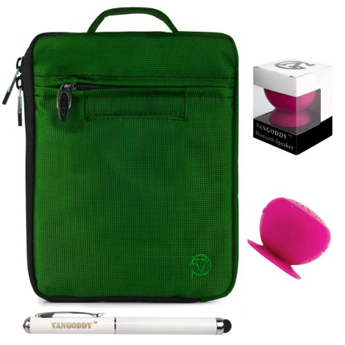 Lightweight Nylon Carrying Case For Dopo Double Power 9-Inch Tablet Gs-918, M975 + Pink Bluetooth Suction Speaker + Stylus Pen