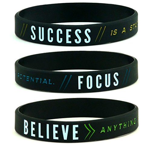 """Success, Focus, & Believe"" Motivational Silicone Wristbands, 6-pack - Unisex Adult Size for Men Women - Inspirational Fitness Athletic Gear Apparel Gifts"