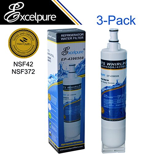 [HOLIDAY PROMOTION]Excelpure Refrigerator Water Filter Replacement (3 PACK) compatible with Whirlpool 4396508,4392857, Kenmore 46900, KitchenAid, Maytag, Swift Green, Water Sentinel, Aqua Fresh