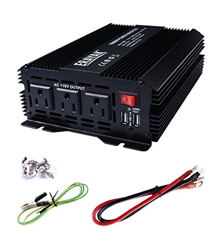 ERAYAK 1000W Power Inverter 3 US Outlets,3.1A Dual USB Ports w/ Alligator Clips Battery Clamps Cable,DC12V to AC110V,for AC/USB Device like Blender,Refrigerator,Drill,Game Console,Cooler-8099U (12 Volt Ac Dc Microwave compare prices)