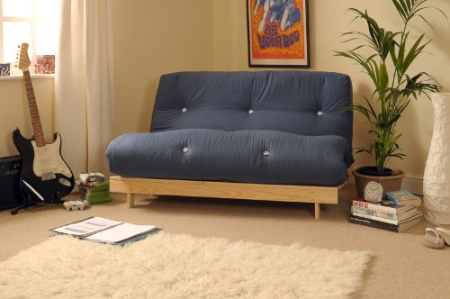 4ft-small-double-120cm-wooden-futon-set-with-navy-blue-mattress
