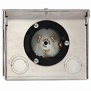 50-Amp 125/250V Raintight Aluminum Power Inlet Box: Patio, Lawn