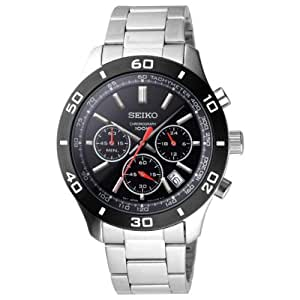 Seiko Men's Quartz Watch with Black Dial Analogue Display and Silver Stainless Steel Bracelet SSB053P1
