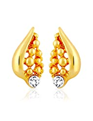 Mahi Gold Plated Shell Stud Earrings With Crystal For Women ER1109286G