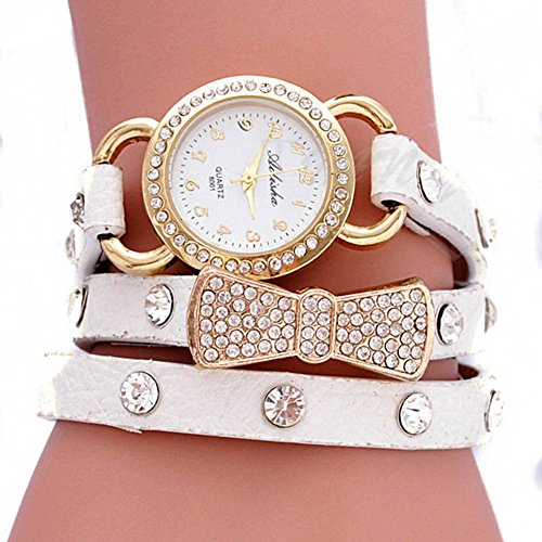 Shot-In Women Retro Crystal Wrap Around Leather Strap Quartz Bracelet Chain Wrist Watch(White)