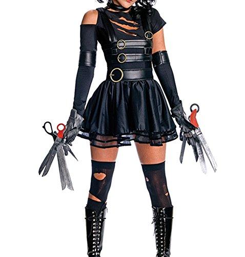 [NonEcho Women's Halloween Novelty Costume Miss Edward Scissorhands Adult] (Miss Scissorhands Costume Makeup)