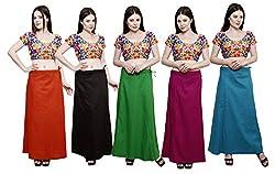 Pistaa combo of Women's Cotton Mango, Coca Cola, Pak Green, Magenta and Dark Rama Color Best Readymade Comfort Plain Inskirt Saree petticoats