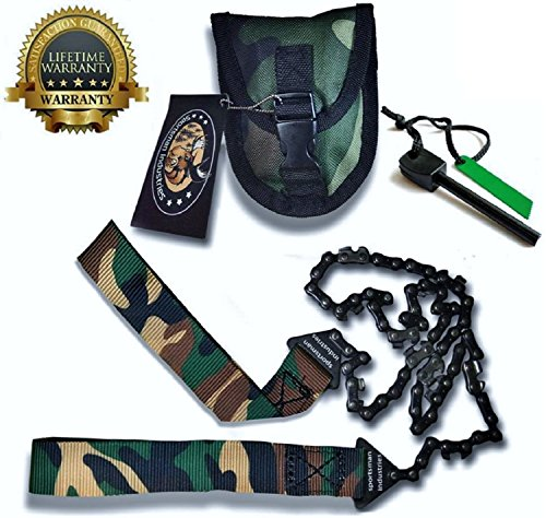 Sportsman-Camo-Pocket-Chainsaw-36-Inches-Long-FREE-Fire-Starter-This-Hand-Saw-Tool-is-Best-for-Survival-Gear-Camping-Hunting-or-Home-Owner-Replaces-a-Pruning-or-Folding-Saw-Full-Guarantee
