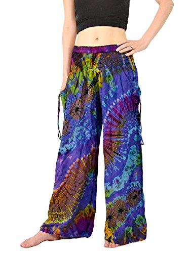 Orient Trail Women's Tie-dye Wide Leg Pajama Dance Yoga Pants Medium/Large Sea Blue (Wide Leg Pajama Pants compare prices)