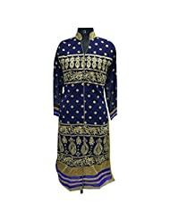 Blue Georgette Fabric Party Wear Kurti With Detailed Work