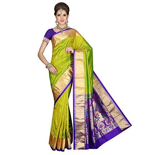 Mahila Silks PEA-GREEN Traditional Paithani pure silk Sarees