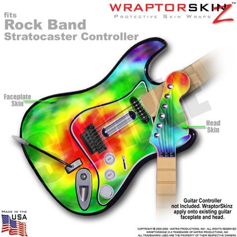 Tie Dye WraptorSkinz Skin fits Rock Band Stratocaster Guitar for Nintendo Wii, XBOX 360, PS2 & PS3 (GUITAR NOT INCLUDED)