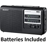 "Sony Portable Handy AM/FM Radio with Built-in 3 5/8"" Clear Sound Speaker, Earphone Jack, LED Tuning Indicator, Tone Control Switch & Built-In Carrying Handle, Operates on Batteries or AC ** Batteries Included **"