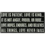 Primitives By Kathy Box Sign, 16 by 7.5-Inch, Love is Patient