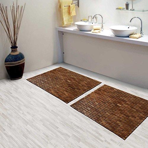 Casa Pura Luxury Bamboo Bath Mat Chestnut Brown 24 X