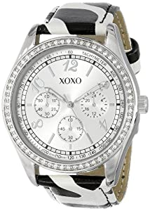 Xoxo women 39 s xo3170 silver dial black and white giraffe strap watch watches for Watches xoxo