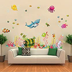 LUCKKYY Fishes Wall Decals Ocean Room Decor for Kids