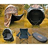 Adult Size Set Pop-up Deer Ground Steel Polyester Hunting Blind Camo & Iron Oxford Cloth Folding Chair Black w/ Carrying Bag for Hunter Tent Seat Wild Life Game Bird