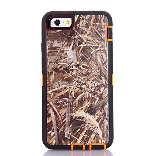 For Iphone 6 Case - FiversTM Heavy Duty 3 in 1 Three Advantages Waterproof Dustproof Shakeproof with Forest Camouflage Desig Cell Phone Cases for Iphone 6 47 Inch Grass- Orange